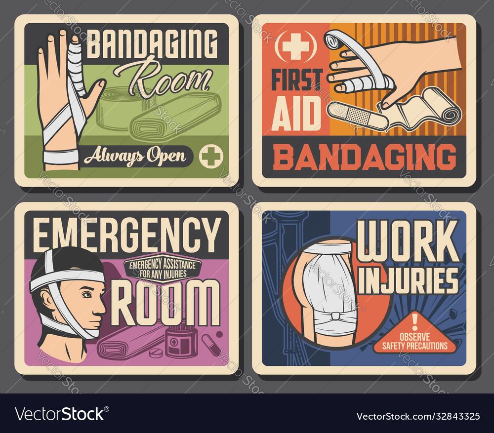 Bandage emergency room medicine retro posters