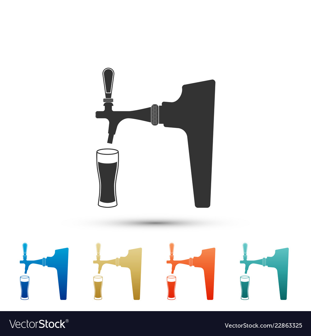 Beer tap with glass icon on white background