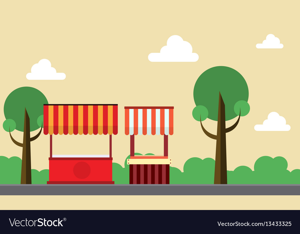 Collection stock of street stall background vector image