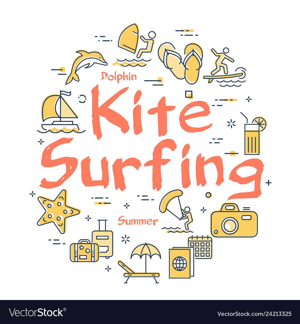 Colorful icons in summer kitesurfing theme