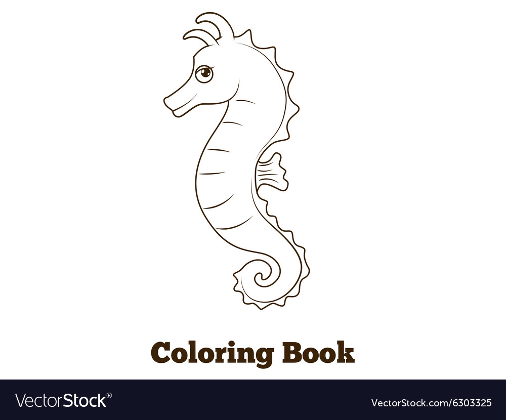 Coloring book sea horse fish cartoon