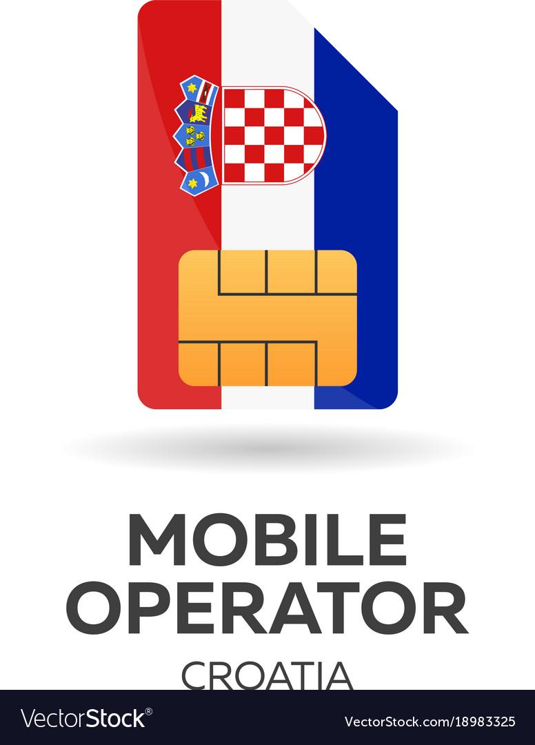 Croatia mobile operator sim card with flag