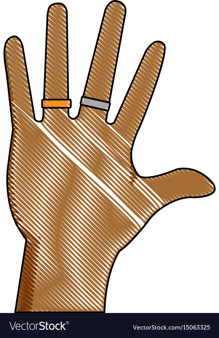 Drawing hand people with jewel rings vector image