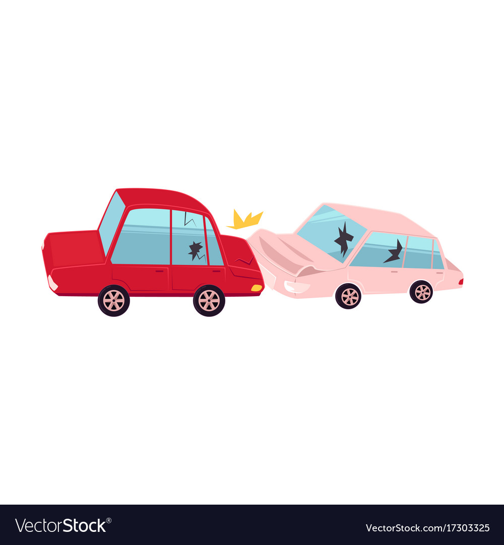 Flat cartoon car accident isolated