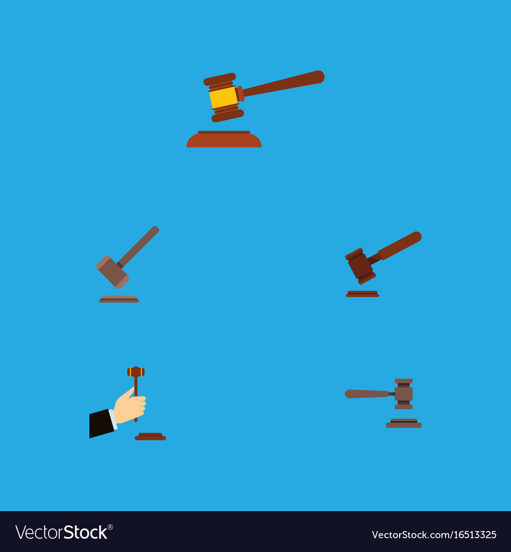 Flat icon lawyer set of hammer tribunal justice vector image