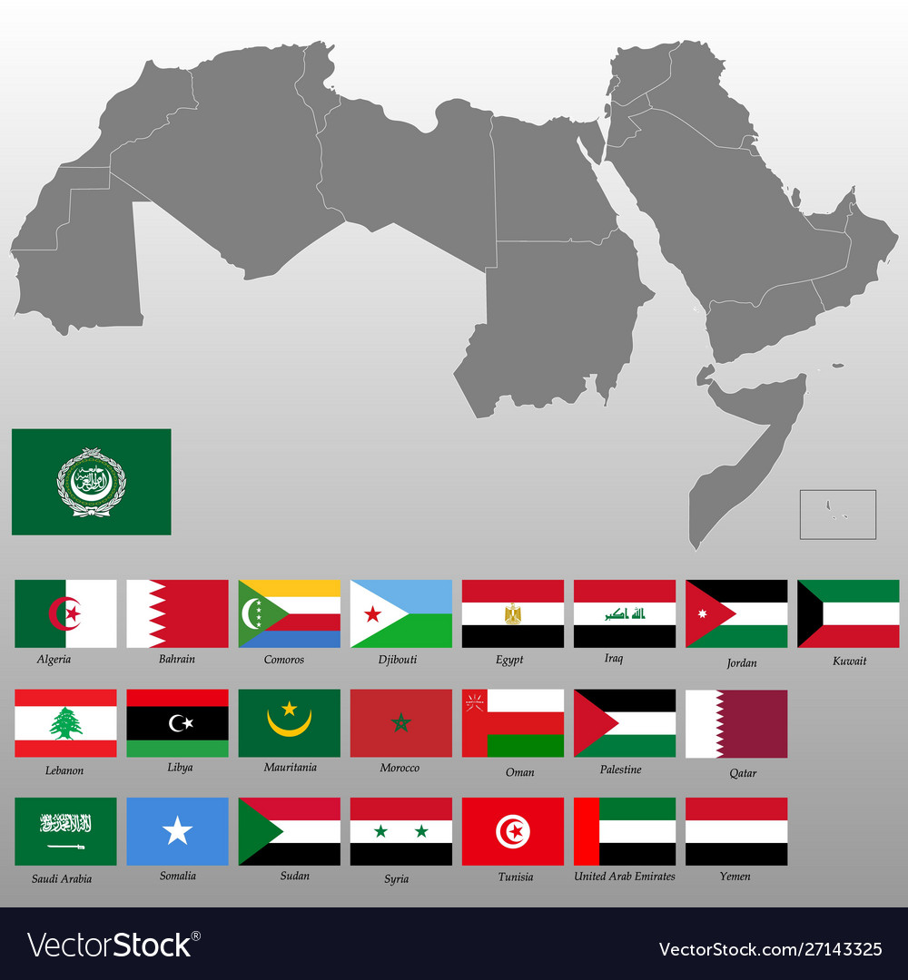 Picture of: High Quality Map Arab World Royalty Free Vector Image