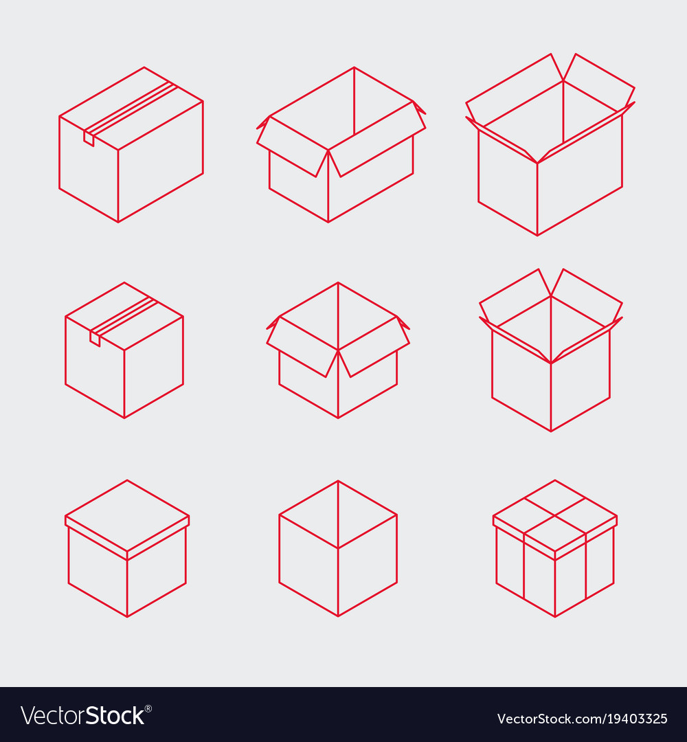 Isometric outline box icon set vector image