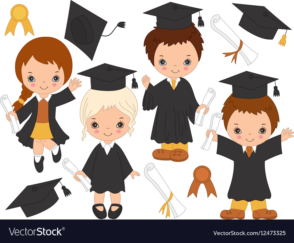 little kids graduating royalty free vector image