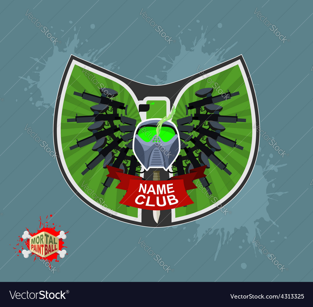 Paintball logo shield with wings Emblem Mortal