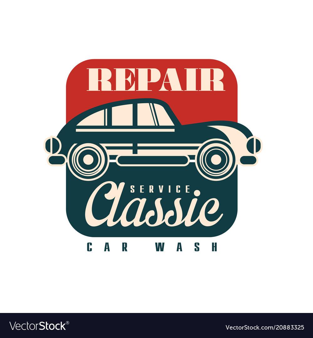 Repair service classic car wash logo design