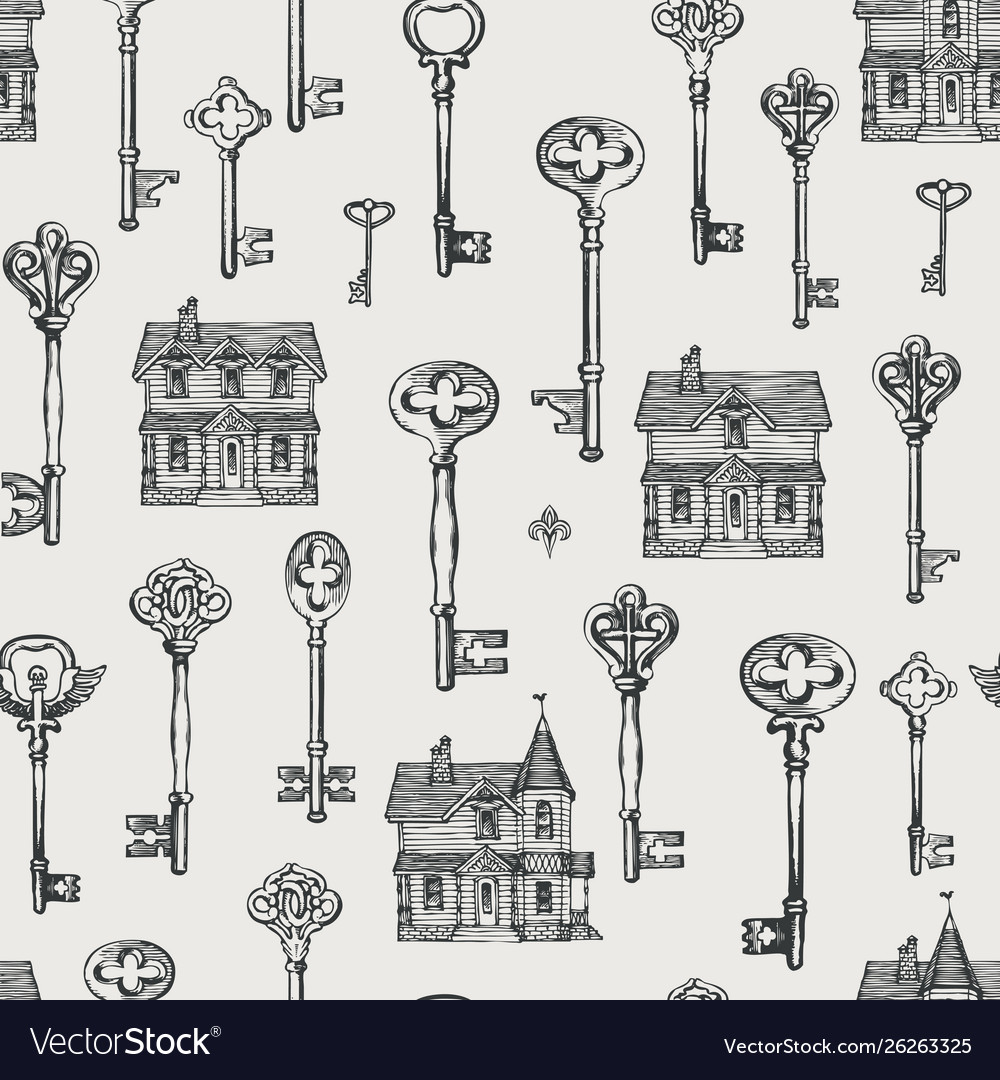 Seamless pattern with vintage keys and old houses
