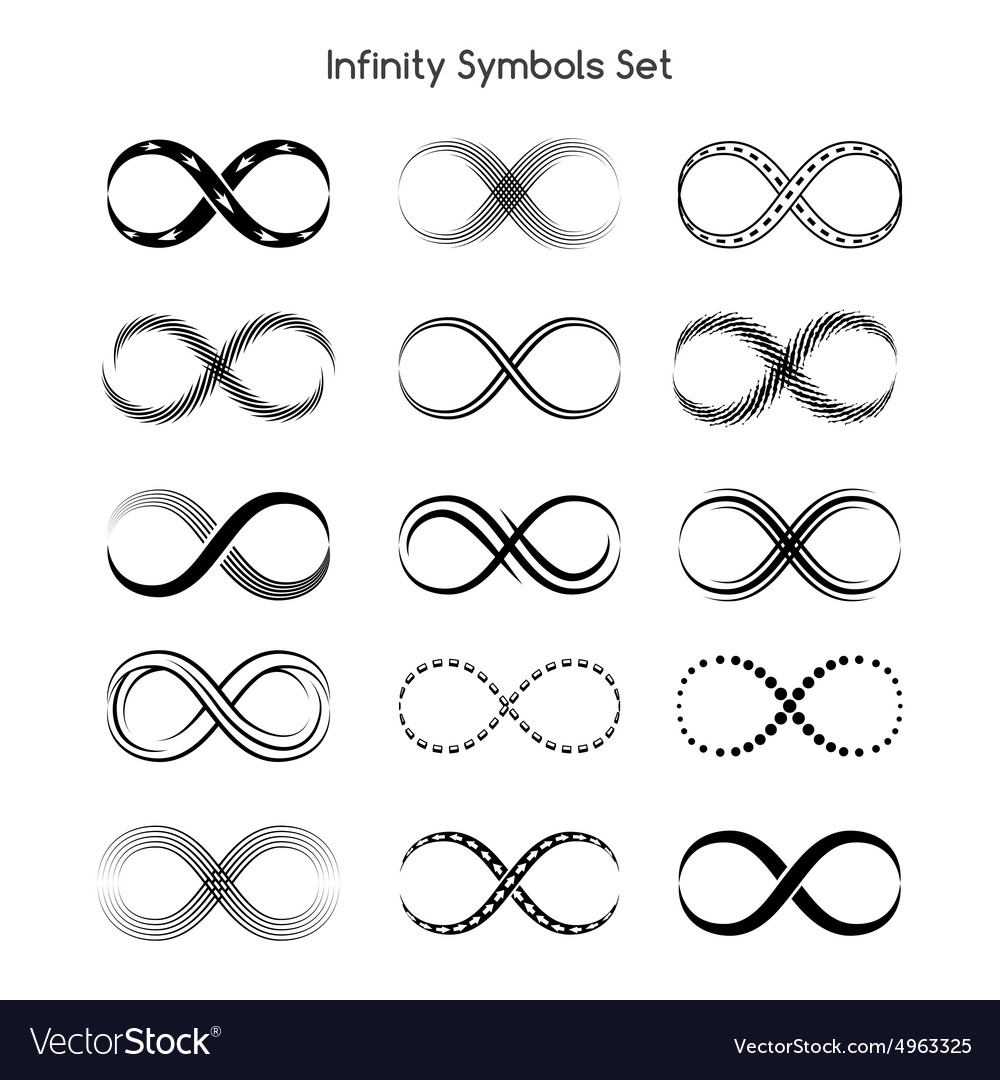 Set of infinity symbols vector image