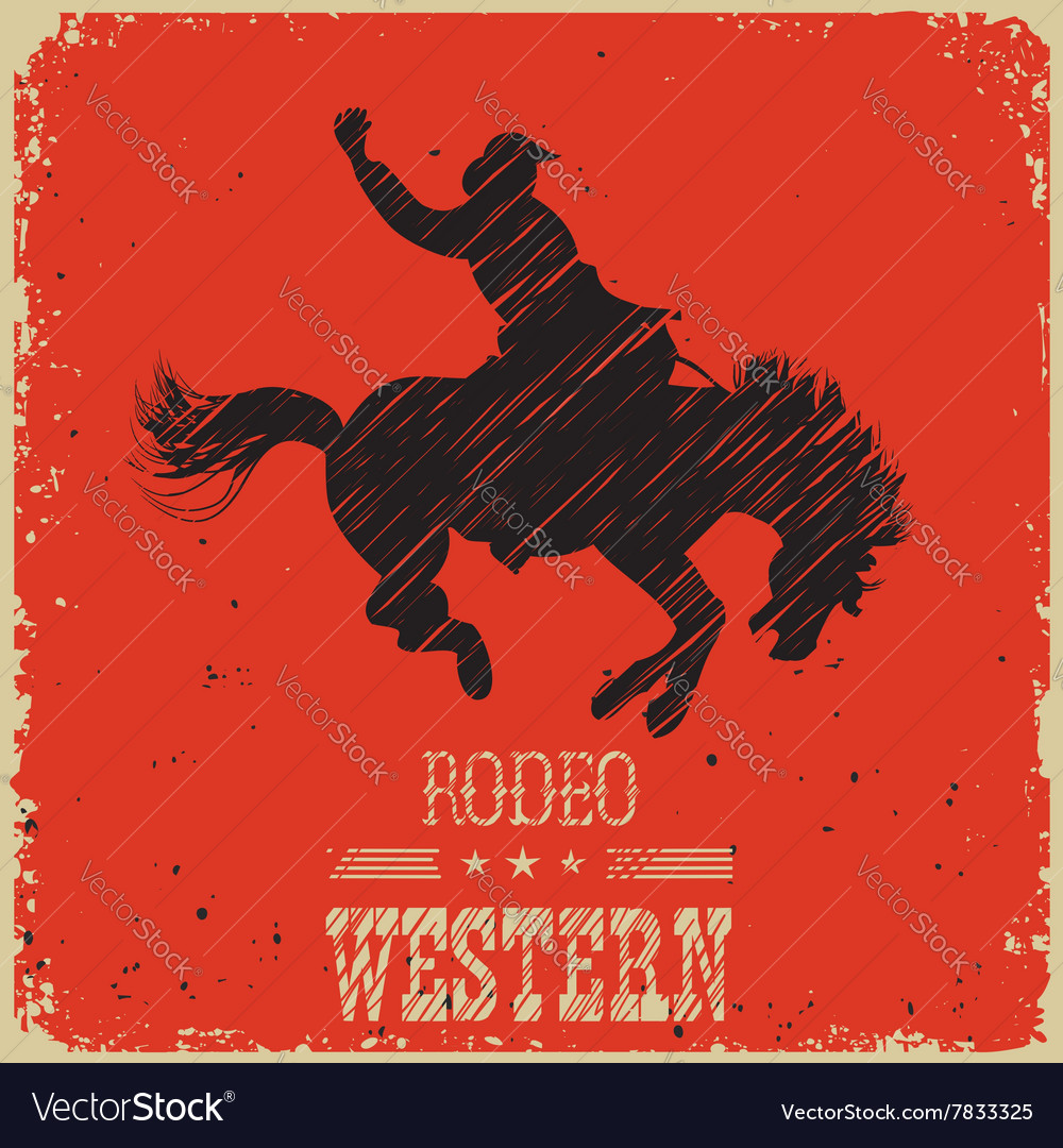 Western Cowboy riding wild horseWestern poster on