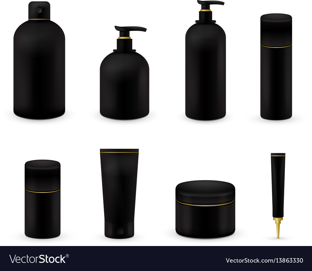 Blank cosmetic package collection set isolated on