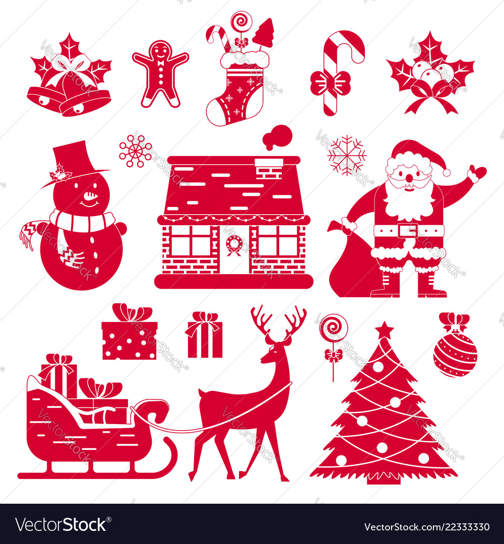 Christmas icons on white background