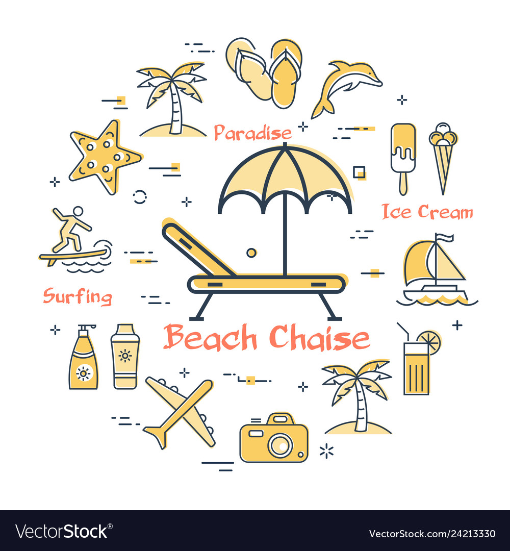 Concept of summertime and beach chaise icon