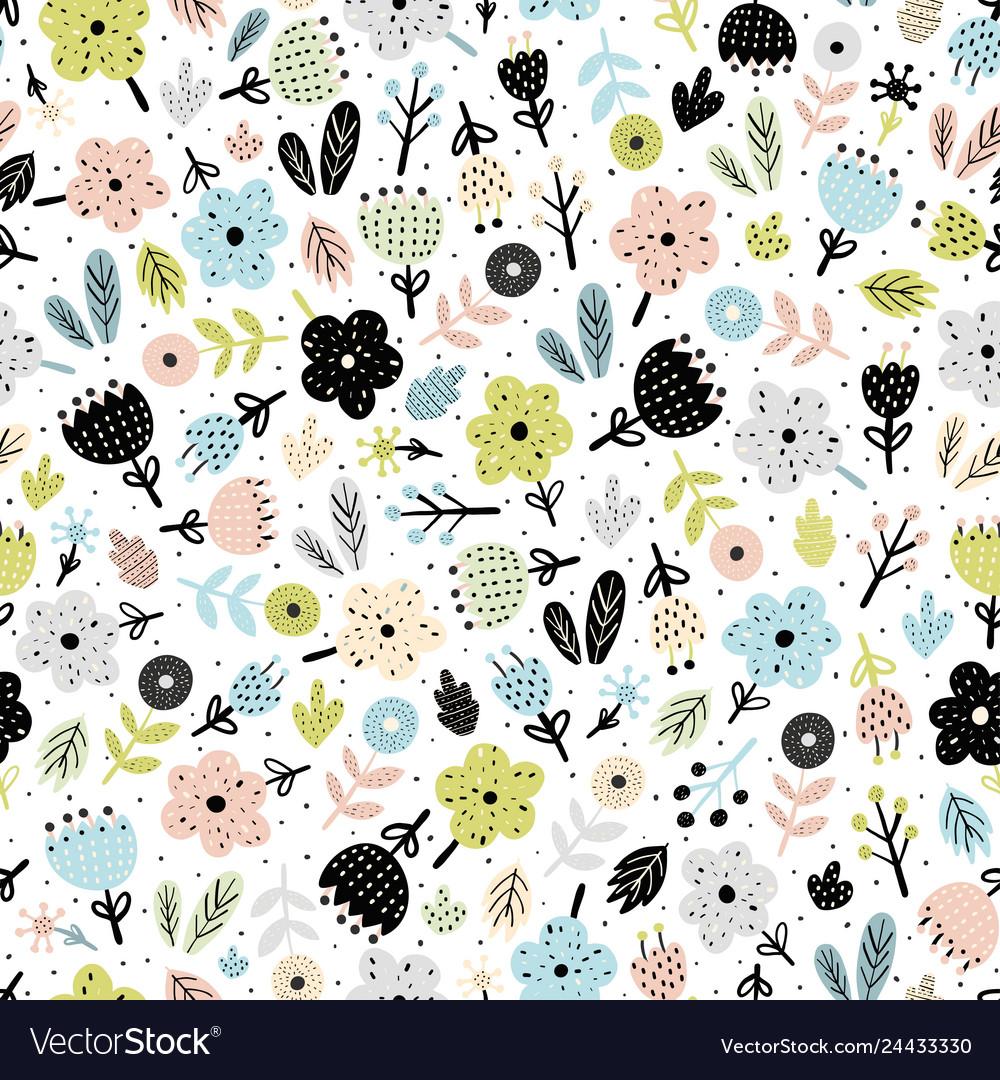 Cute flowers in scandinavian style seamless patter