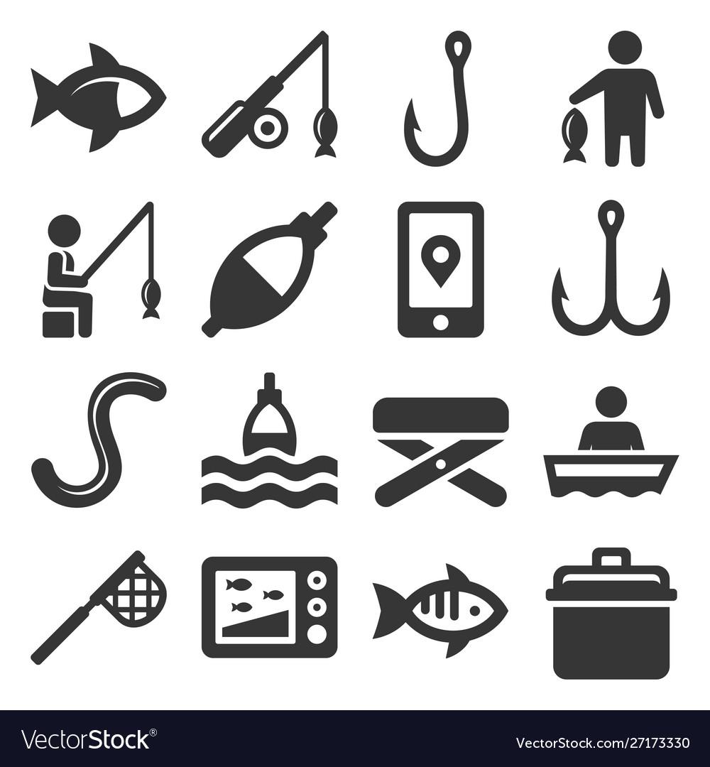 Fishing icons set on white background