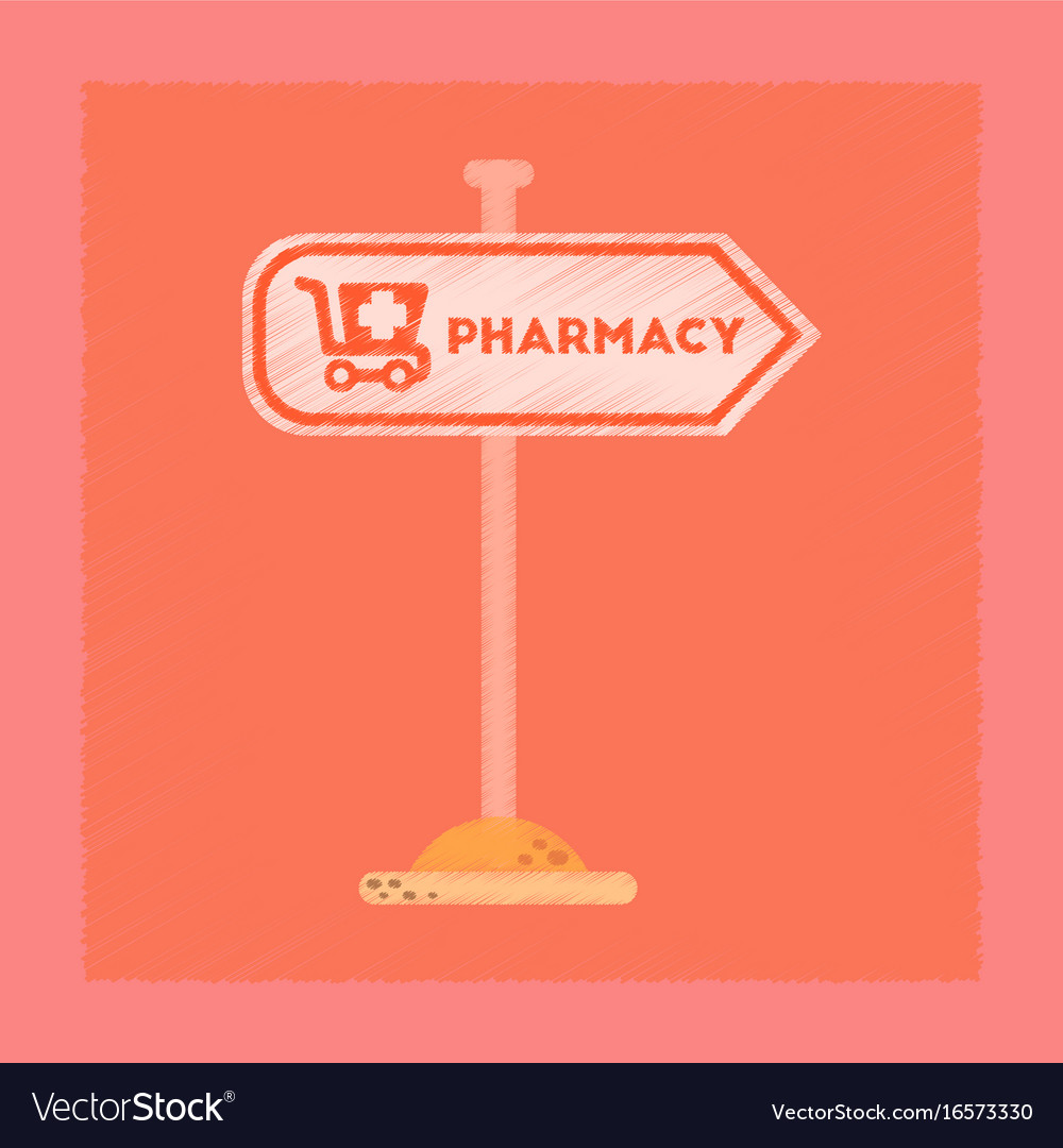 Flat shading style icon pharmacy sign vector image