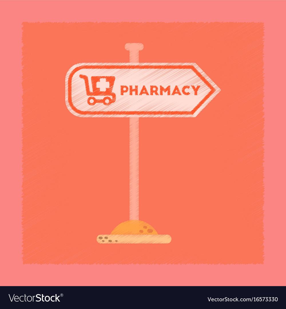 Flat shading style icon pharmacy sign