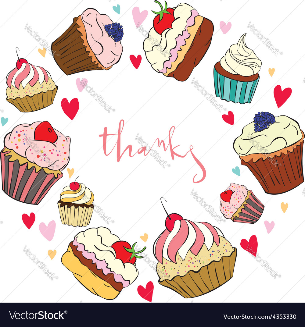 Greeting Card With Cake Royalty Free Vector Image