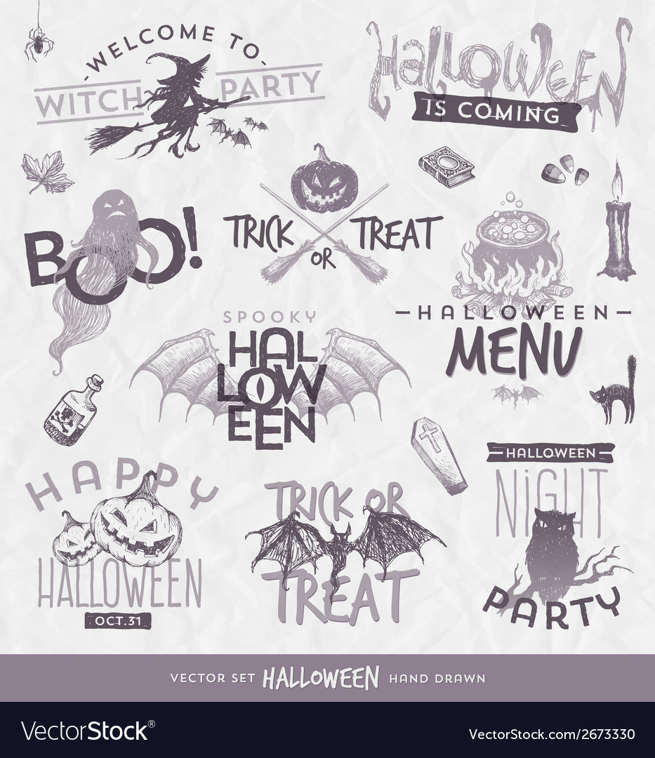 Halloween type design set with hand drawn elements