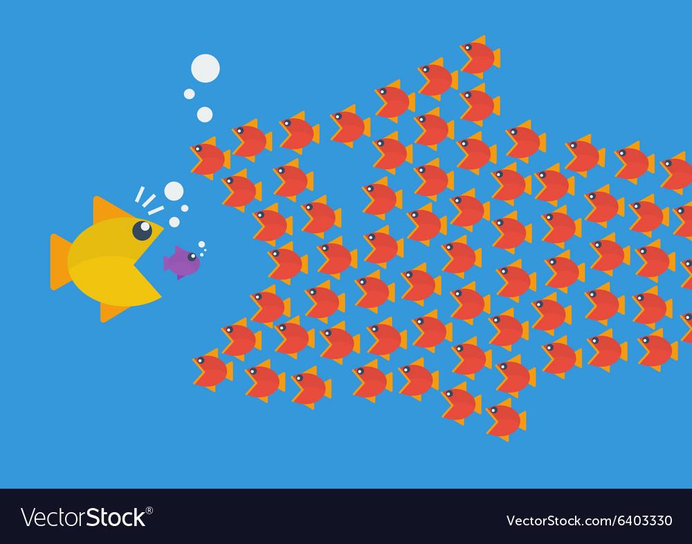 Little fish eat big fish vector image