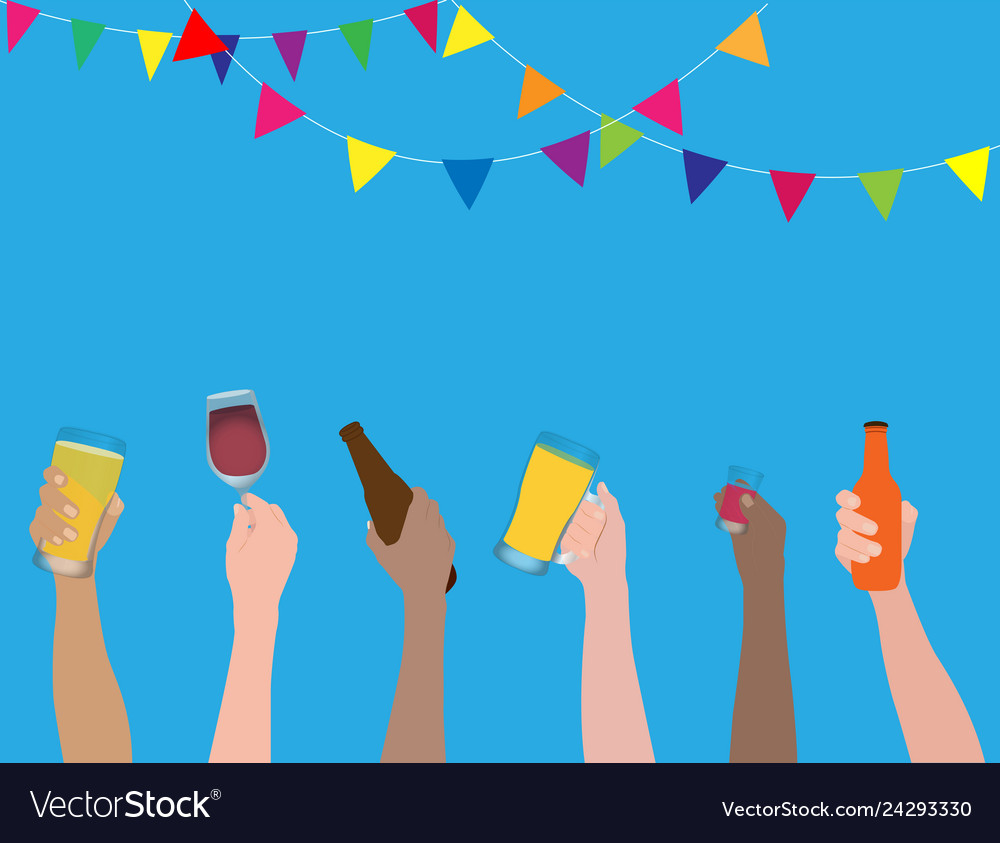 People clinking beer glasses celebration concept
