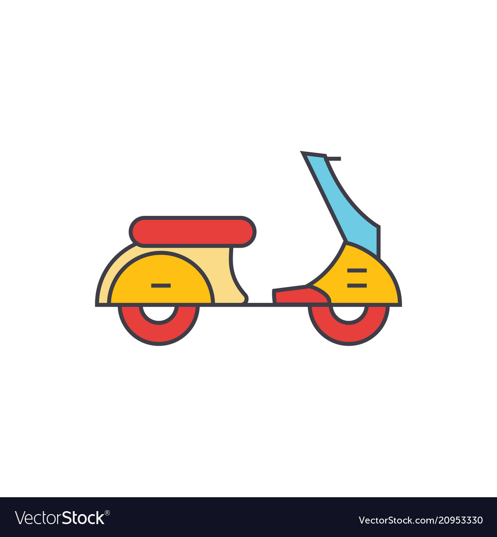 Scooter line icon concept scooter flat