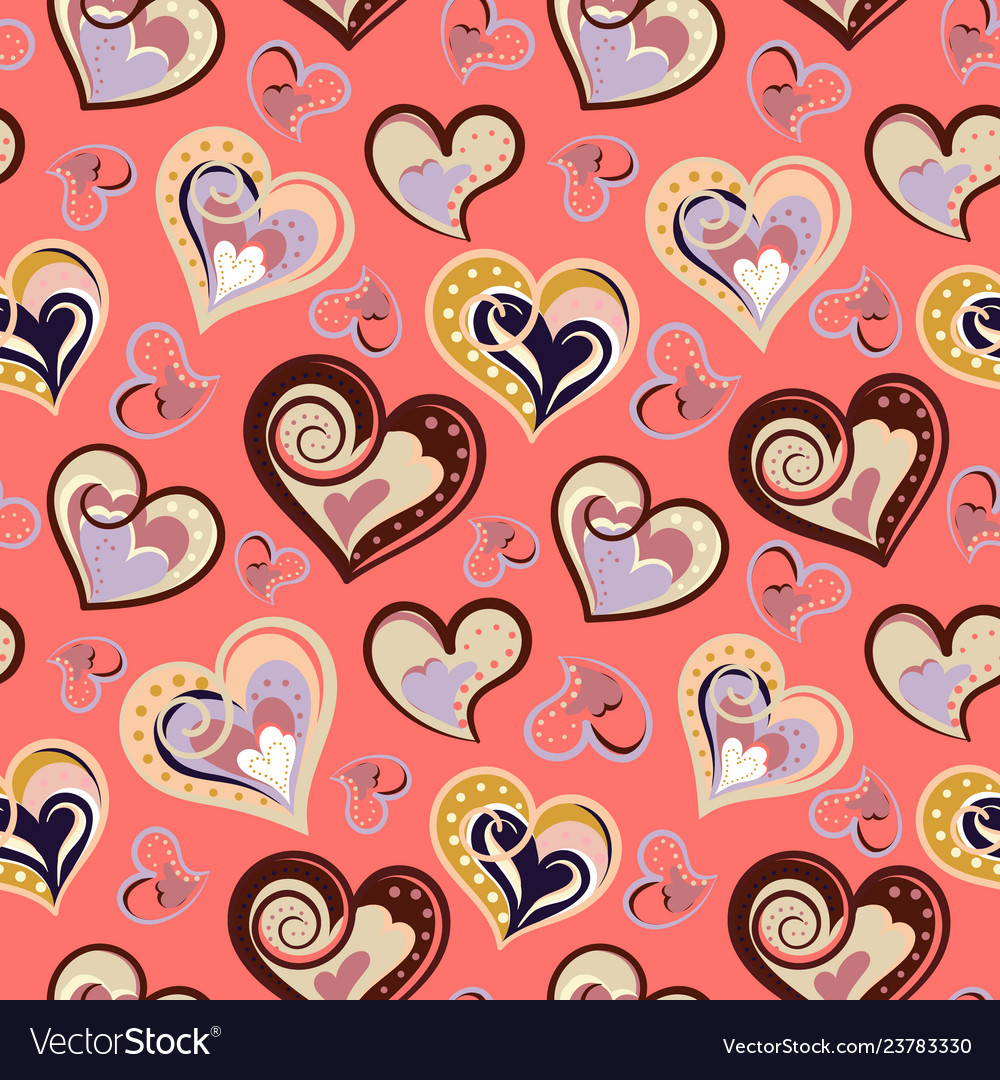 Seamless pattern with hearts freehand drawing