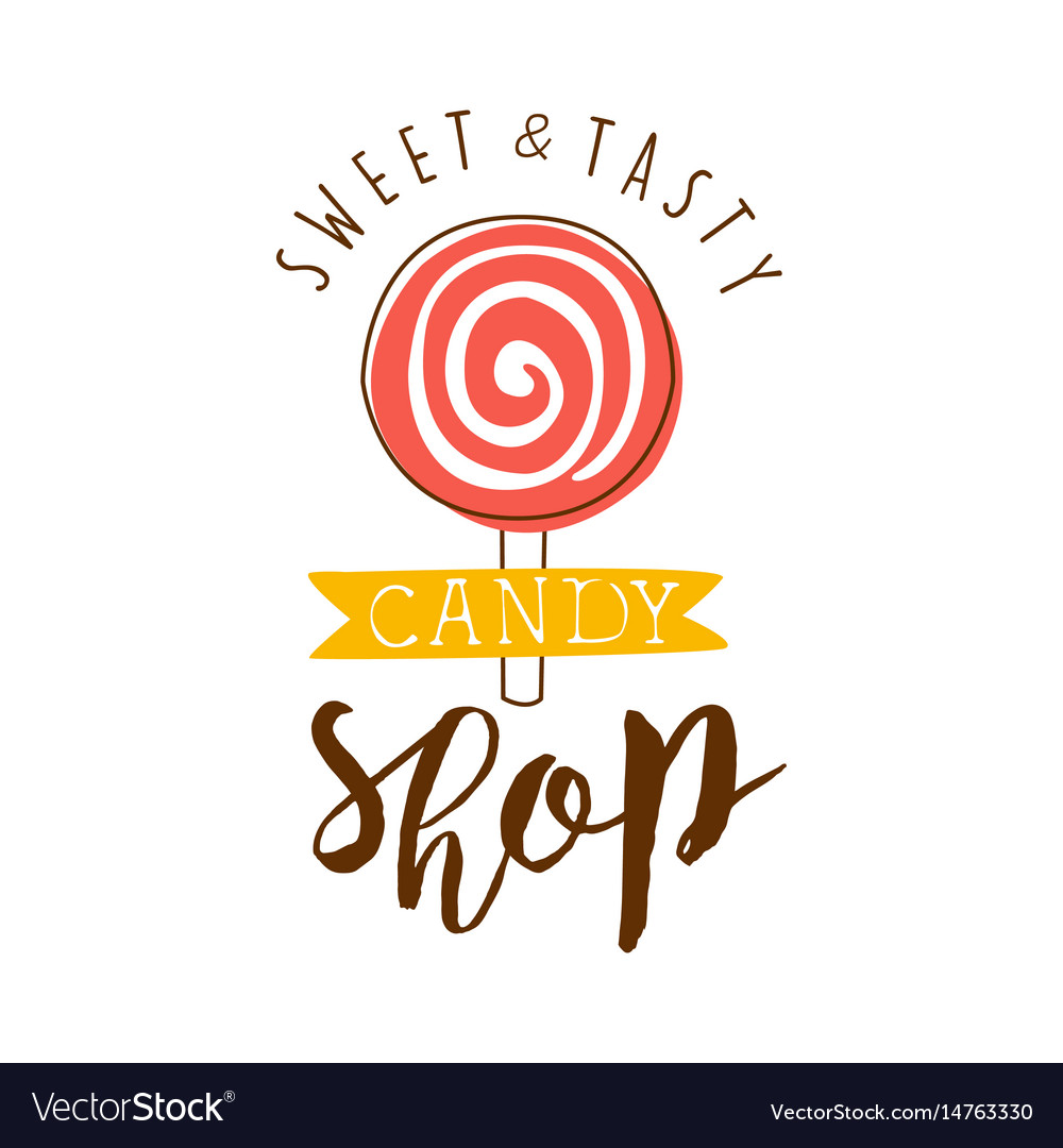 Sweet and tasty shop logo colorful hand drawn