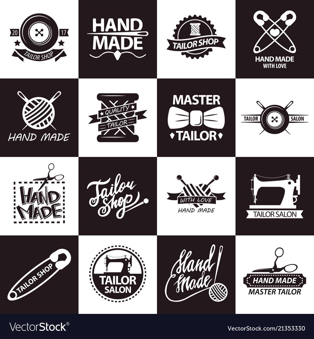 Tailor shop or atelier salon icons