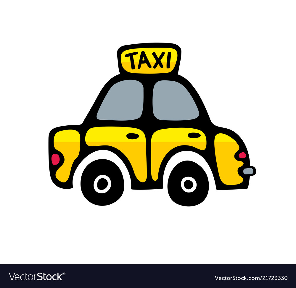 Taxi car in yellow colors isolated on white
