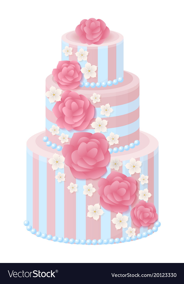 Three Tear Wedding Cakes.Three Tier Wedding Cake Decorated With Glaze Roses