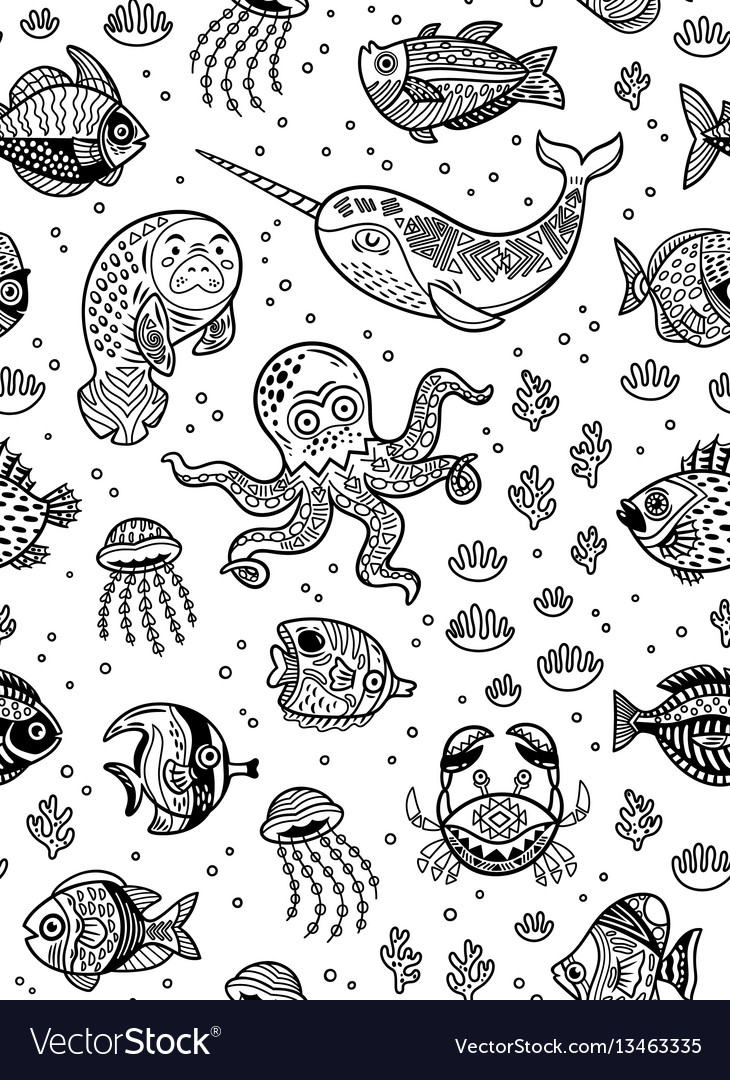 Aquatic animals seamless pattern for children