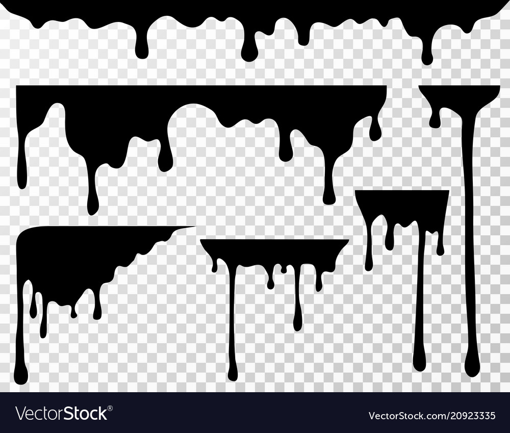 Black dripping oil stain liquid drips or paint