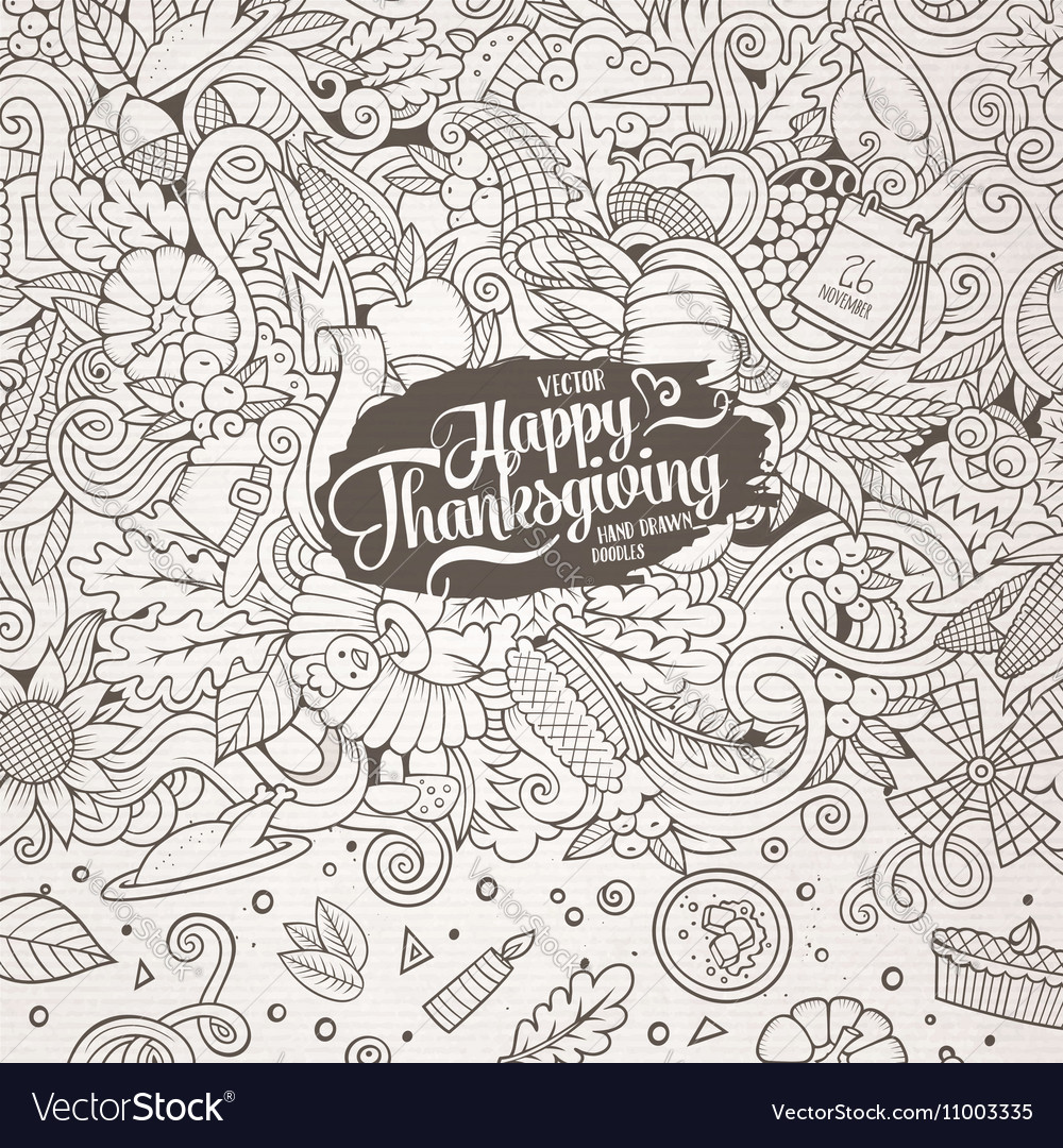 Cartoon hand-drawn Doodle Thanksgiving