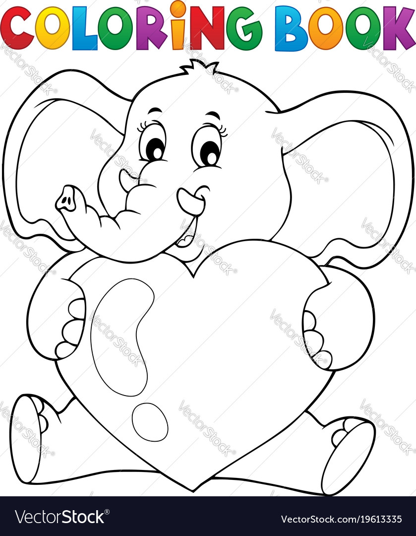 Coloring book elephant holding heart Royalty Free Vector