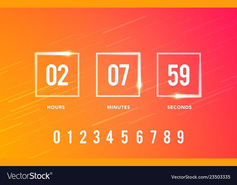 Digital clock timer for coming soon web element