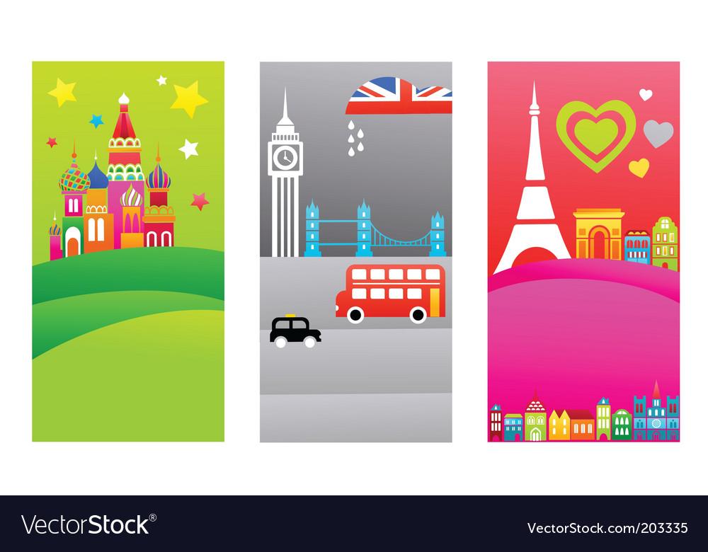 European travel destination banners