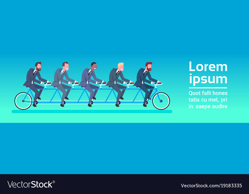 Group of business people riding tandem bicycle