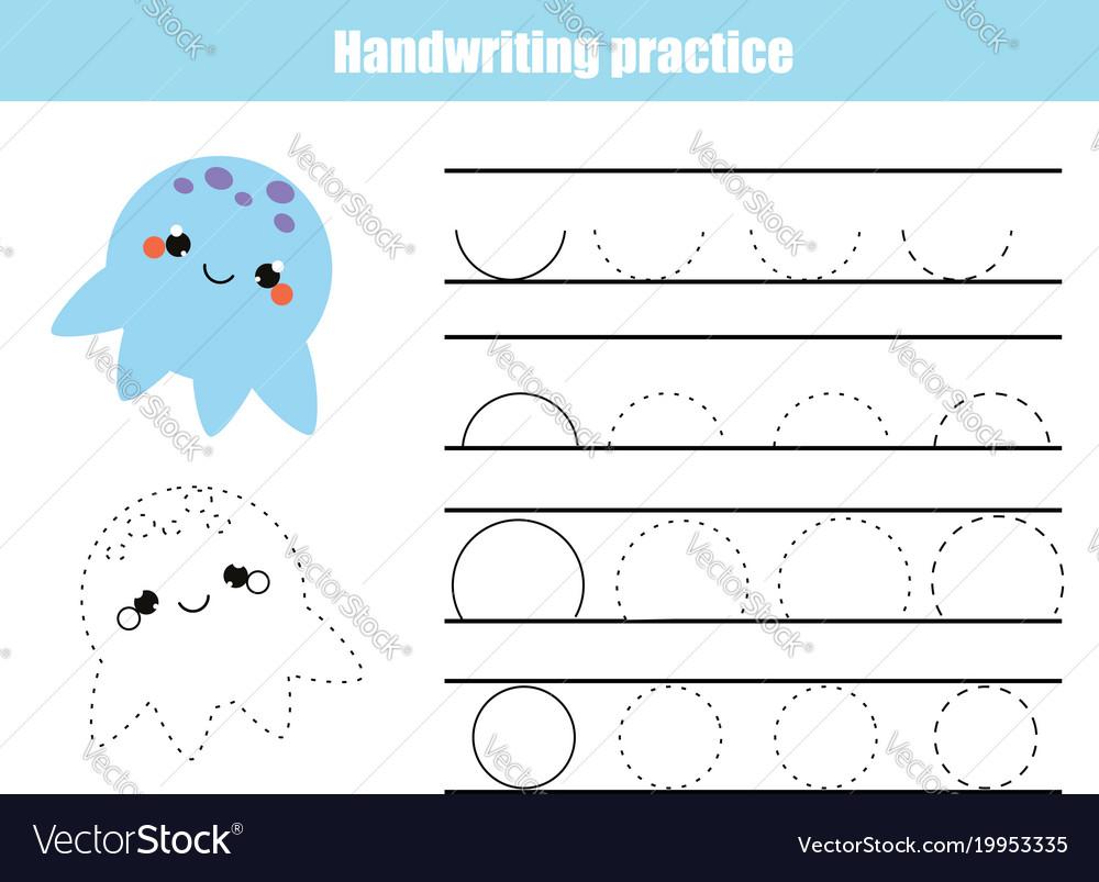 Handwriting practice sheet educational children Vector Image