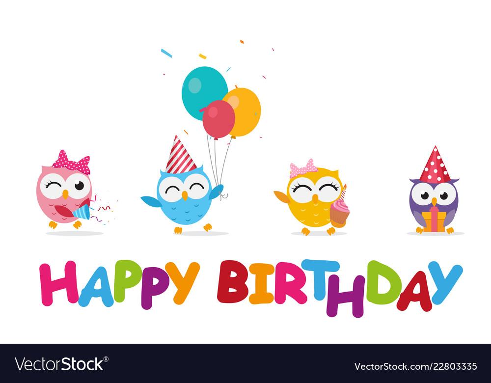Happy birthday celebration with cute owl