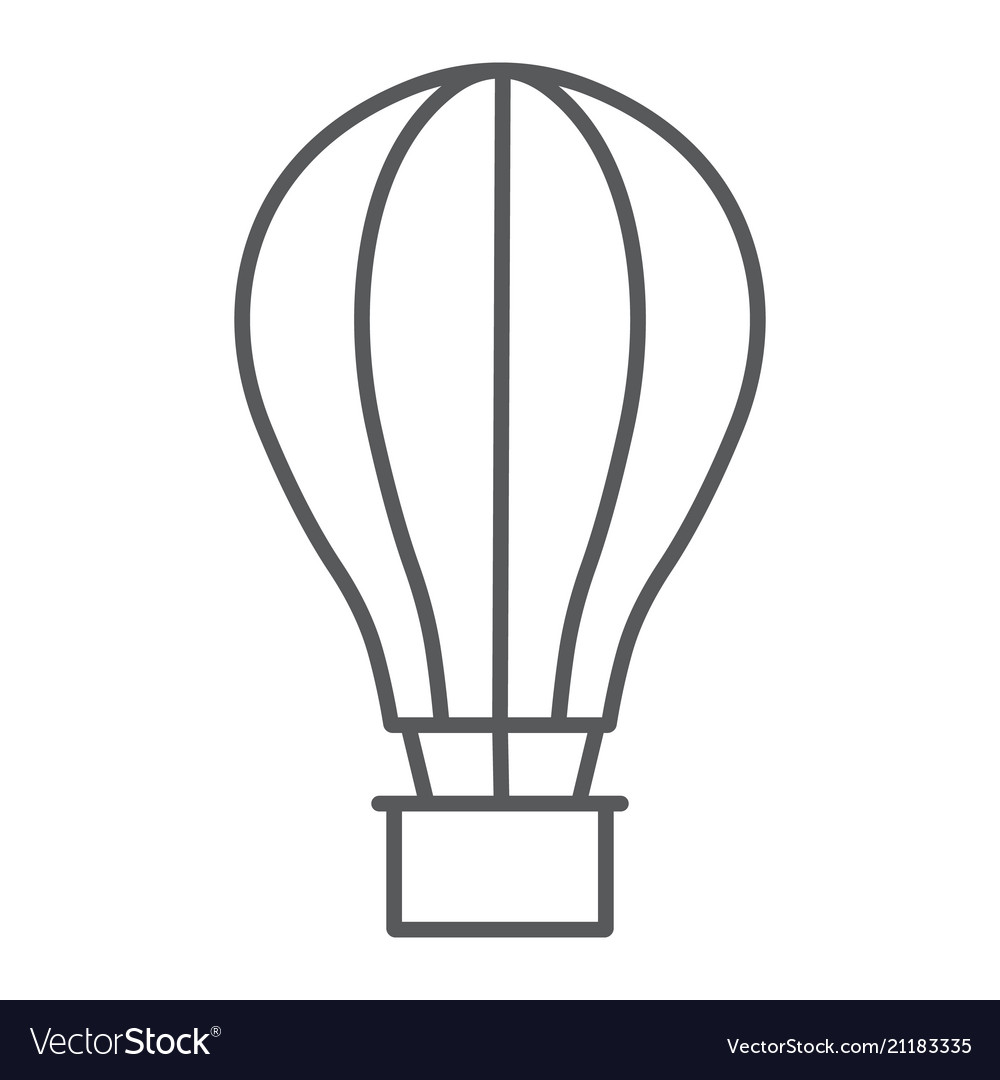 Hot air ballon thin line icon travel and tourism
