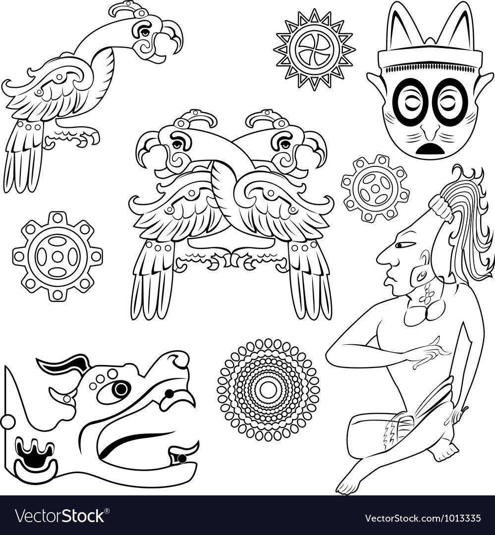 Mayan ornanents with warrior small vector image