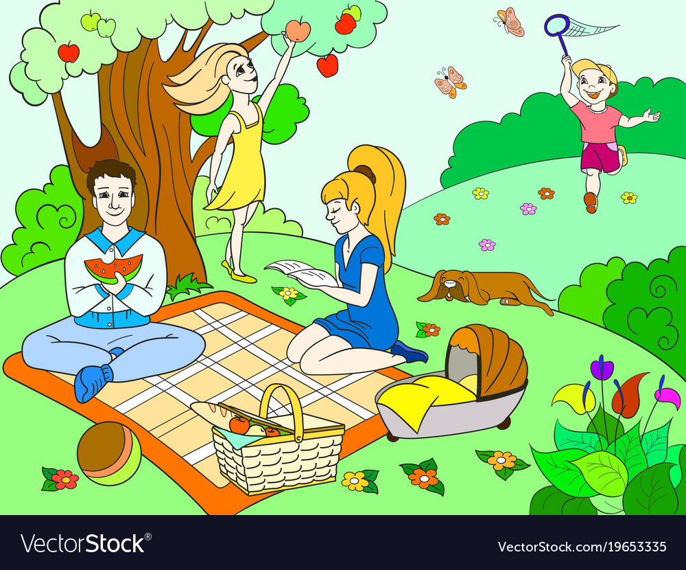 Picnic in nature color book for children cartoon Vector Image