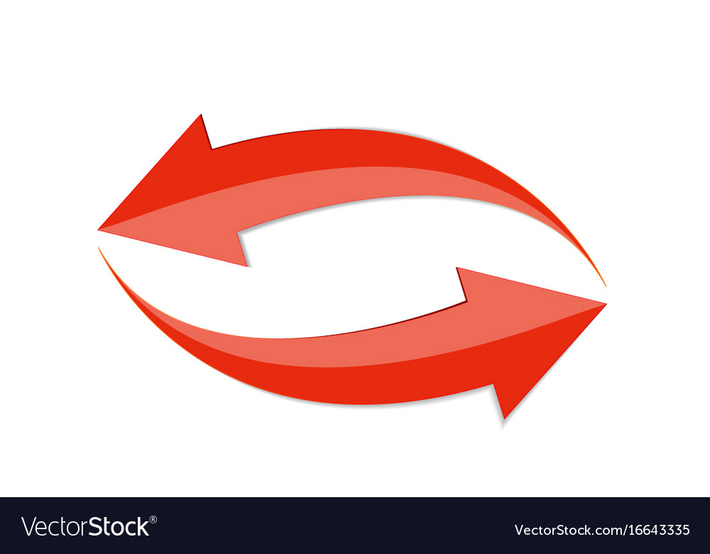 Red arrow 3d sign icon vector image