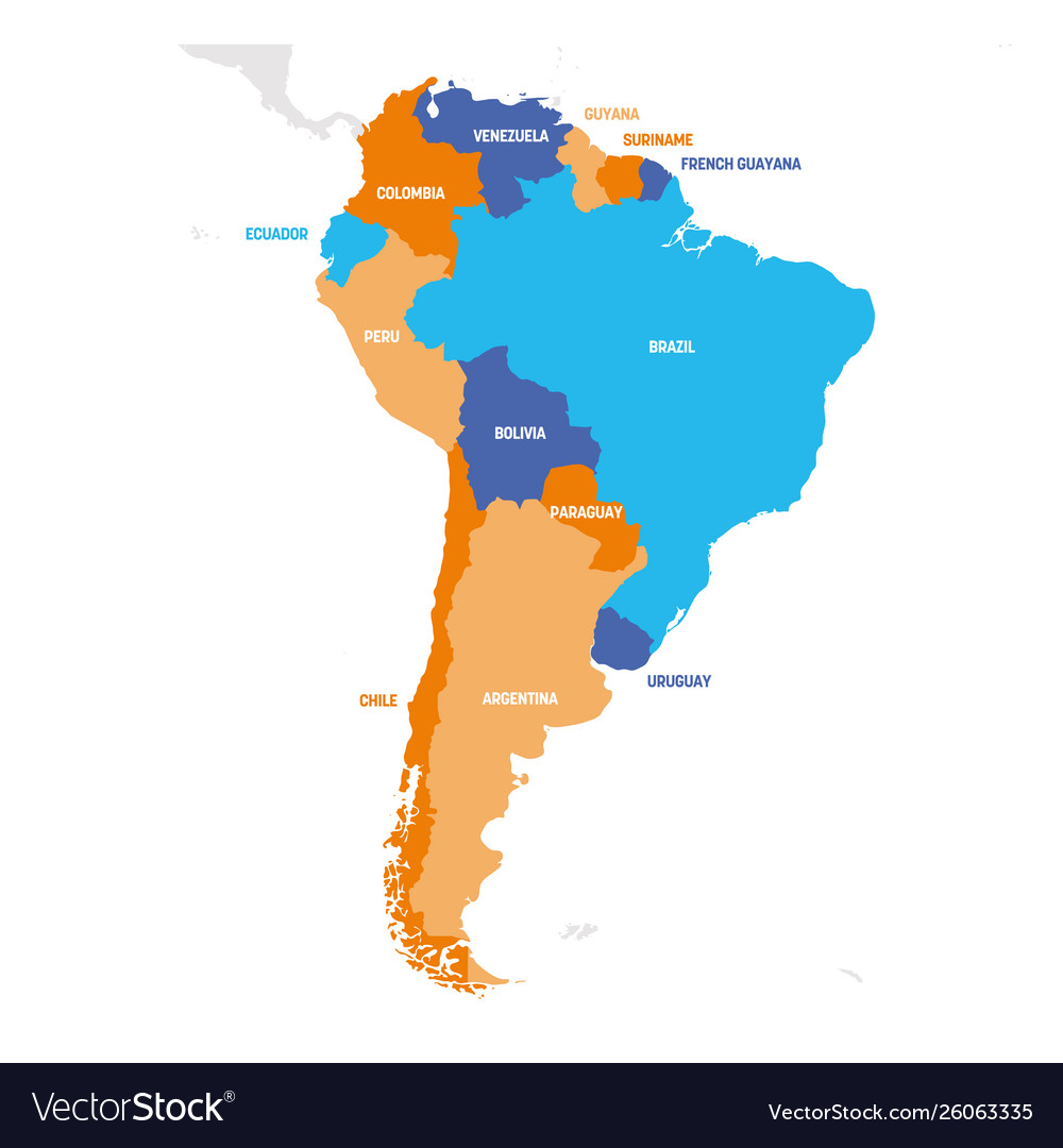 South america region map countries in southern