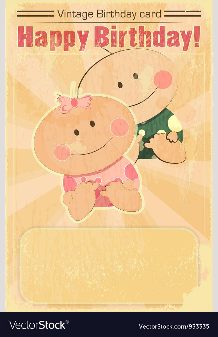 Vintage Design Baby Birthday Card Royalty Free Vector Image