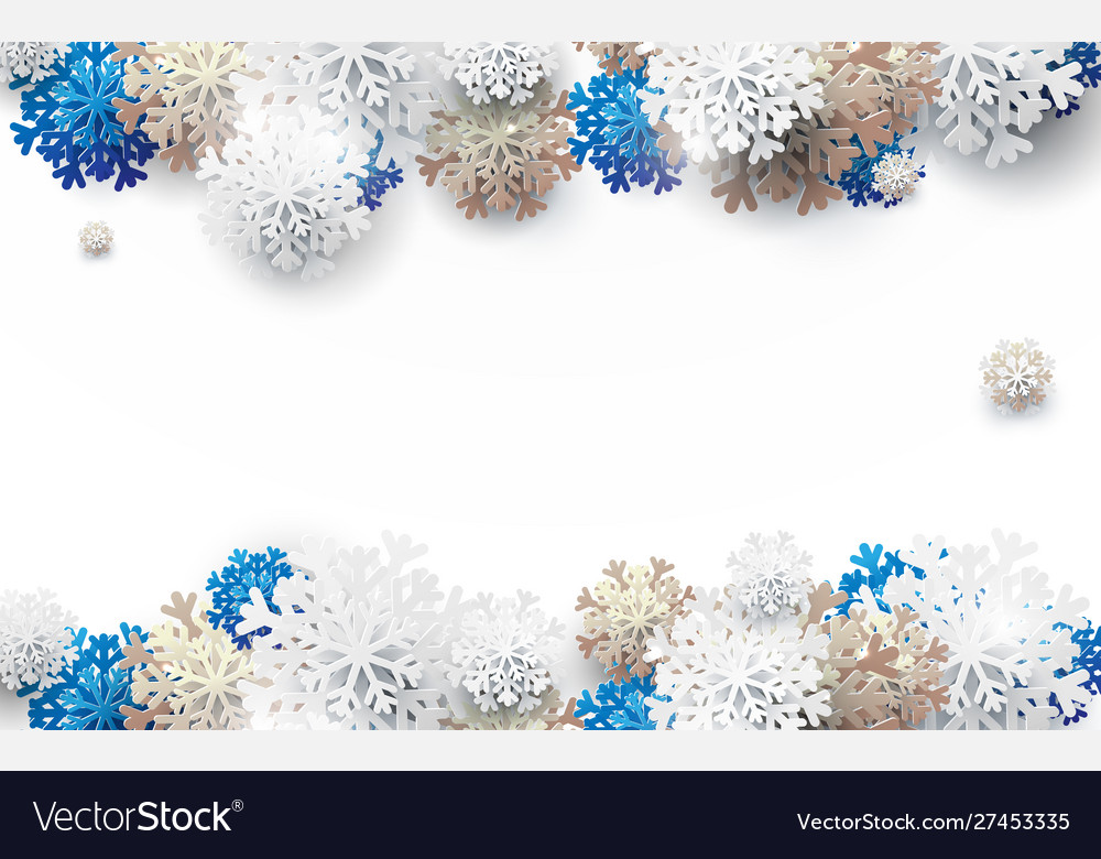 White gold and blue snowflakes backgroud